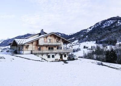 La bergerie en hiver avec le Mont-Blanc